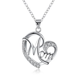 Wholesale Free Hot Mom - Hot Sell Silver Plated Shiny Zircon Mom Heart Pendant Necklace for Mother's Day Gift Free Shipping