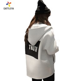 Wholesale Korean Baseball Hoodie - Wholesale- Women Large Size Loose Coats 2017 Autumn Female Jacket 3D Print Korean Style Long Sleeve Show Slim Hoodies Baseball Uniform