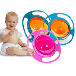 Wholesale Gyro Bowls - Baby Kid Food Spilling Gyro Bowl Dishes 360 Rotate Non Spill Bowl Feeding Dish Baby Snack Bowl fast shipping