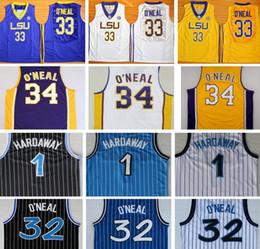 Wholesale Black Yellow Stripe Shirt - #32 Shaquille O'Neal Jersey Shaq ONeal Yellow Purple College Basketball Shirt Uniform Black White Blue Stripe 1 Penny Hardaway Jerseys