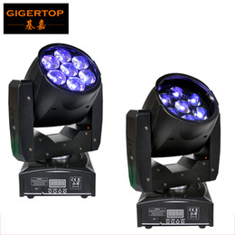 Wholesale Beam Moving Stage Lighting - Freeshipping 2PCS Professional LED ZOOM Wash Light Beam Moving Head Light 7X12w Stage Lights RGBW 4in1 Sound Control 90V-240V