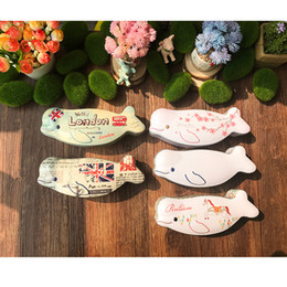 Wholesale Tin Favor Boxes Wholesale - 6pcs lot Novelty Fish Shape Iron Box Tea Candy Storage Seal Boxes Wedding Favor Tin Box Jewelry Pill Cases Portable Container