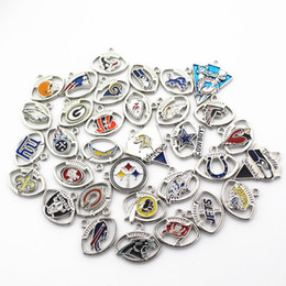 Wholesale Hang Charms - 32pcs lot Mix 32 designs Charm football sports dangle charms DIY bracelet necklace pendant hanging charm jewelry