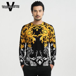 Wholesale Sweater Round Neck - Wholesale- Casual Golden Sweater Men Autumn New Arrivals 3D Printed Vines Slim Round Neck Knitted Sweater Fashion Men M-4XL