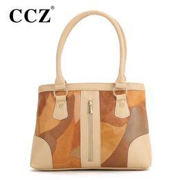 Wholesale women stylish handbag wholesale - Wholesale- CCZ New Fashion Women Patchwork Leather Handbag Casual Women's Shoulder Bags Stylish Ladies Tote Woman Handbags bolsos HB307F