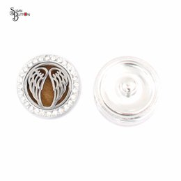 Wholesale Locket Rings Wholesale - Newest Angel Wings Perfume Locket 22mm Crystal Magnetic Alloy Aromatherapy Locket Snaps Essential Oil Diffuser Locket Snap Button Jewelry