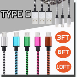 Wholesale Iphone Wires 3m - V8 USB Cable Colorful Micro Braided Data Sync Wire 1M 3FT 2M 6FT 3M 10FT High Speed Charging Charger Adapter For Type C Cable Macbook