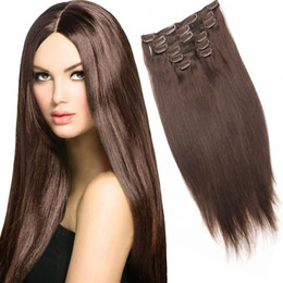 """Wholesale Cheap Clip Extensions - Cheap 16"""" 18"""" 20"""" 22"""" 24"""" Full Head thickest 100g-220g Remy Clip in Human hair extension 10pcs 22clips Black, Brown, Blonde Optional Colors"""