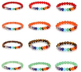Canada Mala Bouddha bracelet 7 chakra Yoga Bracelet naturel Agate indienne pierre précieuse ronde forme perles lave Pierre Chakra guérison bracelets Offre