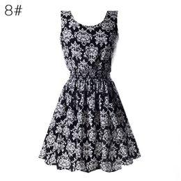 Wholesale Black Bell Sleeve Dress Xs - Wholesale- 2017 New 22 Color Colors Summer Women Dress Tank Chiffon Beach Dresses Sleeveless T-shirts Floral Vestidoes M-XXL S4
