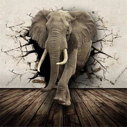 Hochwertige Flash-Stoff Tapete / Tier Wohnzimmer TV Hintergrund Kinderzimmer Rhino / Lion / Elephant Wandbild Tapete von Fabrikanten