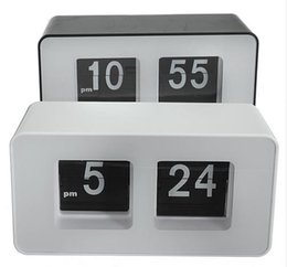 Wholesale Nice Wall Designs - Wholesale- High Quality New Design Simple Modern Unique Retro Concise Simple Cube Nice Desk Wall Auto Flip Clock Wholeslae Price
