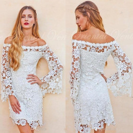 Wholesale Bell Wedding Dresses - Bell Sleeves Crochet Lace Boho Hippie Wedding Dress Off shoulder Vintage Inspired 70s Style Short Reception Wedding Dresses 2017 BA5083