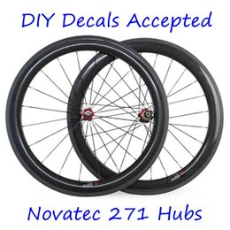 Wholesale Diy Full Bike - Carbon Wheels 60mm Depth 23mm Width 700C Full Carbon Bike Wheels 3K Matt Clincher Tubular Novatec 271 372 Hubs DIY Brand Decals Accepte