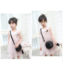 Wholesale Kids Girls Fashion Trend - New style Round Tassels pendant Fashion bags For Kids Girls Fashion Trend children Princess one-shoulder PU Leather bags Handbags