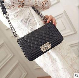 Wholesale Ladys Leather Shoulder Bag - New Women Plaid Shoulder Bags Chain Crossbody Handbags Hasp Casual PU Leather Fashion Ladys Rivets Messenger Bag High Quality
