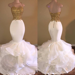 Wholesale Organza Prom Dresses 22w - Sexy Mermaid White and Gold Prom Dresses 2017 Spaghetti Strap Appliques Lace Ruffles Organza Backless Long African Prom Dress for Gradustion