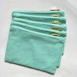 Wholesale Thick Zip Bag - 12oz thick and durable cotton canvas mint color makeup bag with gold zip gold lining 6*9in mint canvas cosmetic bag free ship custom color