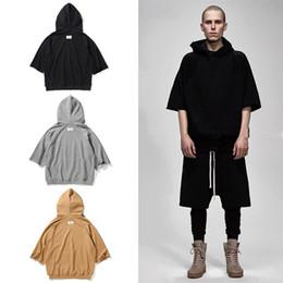 Wholesale Mens Summer Hoodie - 2017 TOP summer kanye west oversized hoodie hip hop mens clothing Fashion Casual short sleeve hoodies Black gray khaki M-XL