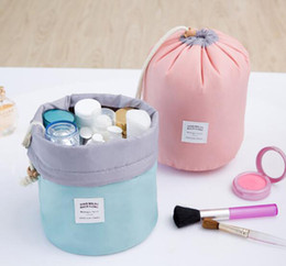 string shapes Promo Codes - High Quality Barrel Shaped Travel Cosmetic Bag Nylon Wash Bags Makeup Organizer Storage Bag High Capacity