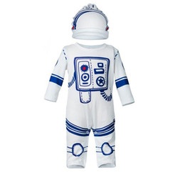 Wholesale Wholesale Character Onesies - 2017 Boys Girls Baby Rompers Clothing Sets Astronaut Jumpsuits Hat 2Pcs Set Newborn Onesies Cotton Toddler Romper Enfant Pajamas Clothes