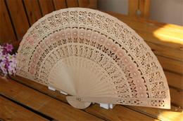 Wholesale Hand Fans Favors - New Elegant Folding Wooden Hand Fan Wedding Party Favors Best Gift Sandalwwood fan Hollow out folding fan