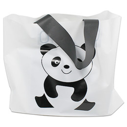 Wholesale Handle For Shopping - Wholesale 25pcs Lot Printing Panda Carton White Shopping Plastic Bag With Handle For Cloth Gift Fashion Pouch