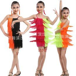 Wholesale girls fringe costume - Colors Children's Cheap Sexy Pink Green Sequin Fringe Salsa Dancewear Costume Girls Ballroom latin Stage dancewear costumes