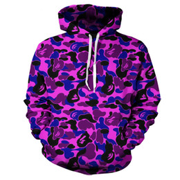 Wholesale hoody custom - Wholesale- Real American size Purple Camo 3D Sublimation Print OEM Hoody Hoodie Custom made Clothing plus size