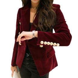 Al por mayor-M-2XL más el tamaño 2017 otoño femenino coreano delgado era delgada chaqueta de doble color de terciopelo traje de ocio de color sólido B5074 desde fabricantes