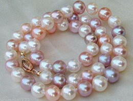 Wholesale Pink Pearl Necklace 14k - CHARMING AAA 8-9MM south sea white purple pink Multicolor PEARL NECKLACE 18 inch 14k gold clasp