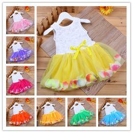 Wholesale Rainbow Flower Bow - 8colors Girls rainbow flower lace sleeveless dress infants ribbon bowknot petals lace dress children's sweet princess dress casual outfits