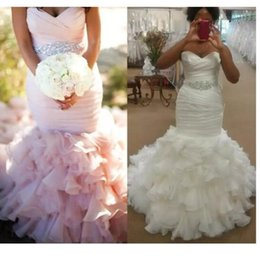 Wholesale Sweet Heart Wedding Trumpet Gown - Blush Mermaid Wedding Dresses Bridal Gown Robe de Mariage With Sweet-heart Beads Crystals Sash Ruffles Organza Lace Up Back Sweep Train