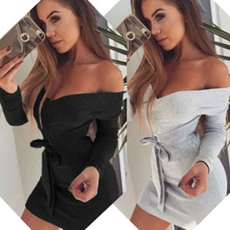 Wholesale Hot Women Mini Skirts - New Hot Good Selling Women Sexy Crossover Deep V-Neck Strap Nightclub Dress Skirt With Belt Party Clothes 2848