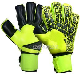 Wholesale Check Spring - New!A+++Quality Brand AD Logo Professional Soccer Goal Keeper Gloves Finger Ptotection Top Latex Goalie Gloves for Men 5MM Latex