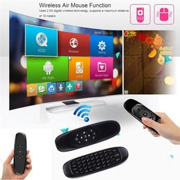 Wholesale Games Mic - Gyroscope Fly Air Mouse C120 Wireless Game Keyboard Android Remote Controller Rechargeable 2.4Ghz Keyboard With Mic Voice for Smart Tv BOX