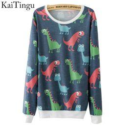 Wholesale Dinosaur Tracksuit - Wholesale- KaiTingu 2016 New Fashion Autumn Women Long Sleeve Tracksuit Hoodies Funny Cute Dinosaur Full Print Casual Pullover Sweatshirt