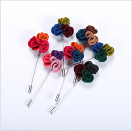 Wholesale Design Lapel Pins - Hot Lapel Flower Man Woman Camellia Handmade Boutonniere Stick Brooch Design Pins for Men's women's Accessories Fashion Xmas Gift AOP--075