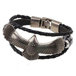 Wholesale Eagle Charm Bracelet - Handmade Leather Bracelets Men Metal Flying Eagle Beaded Charm Bracelet Alloy Woven Jewelry Handmade Charm Mens Bracelet Black Brown Rope