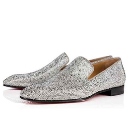 Wholesale Red Rhinestone Flat Wedding Shoes - 2017 New Arrival Mens Dandelion Strass Flats square toes Red bottom Dress shoes Rhinestone loubis men shoes size 39-46