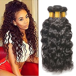 Wholesale Cheapest Human Hair Weaves - Cheapest Price Indian Virgin Hair Water Wave 3 4pcs Grade 8A Mink Brazilian Peruvian Malaysian Water Wave Human Hair Weaves 8-26inch Dyeable