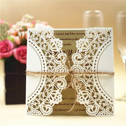Wholesale Wedding Invitation Card Classic - 2017 Free shipping European Classic Paper Laser Cut Ivory Wedding Invitations Cards Customizable Invitation with Blank Inner Sheet