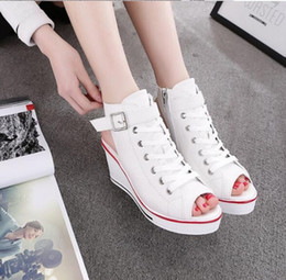 Wholesale Sponge Wedges - High summer fish mouth help canvas shoes Han edition wedge increased within 8 cm sponge base students height with leisure female sandals