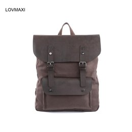 Wholesale Vintage Style Large Canvas Backpack - Wholesale- LOVMAXI HOT Men's Canvas BACKPACKS leather causal Vintage large backpack travel bags daily backpacks