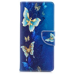 Wholesale Yellow Leather Paint - For Samsung Note 8 S8 Plus Cover Painted PU Leather Cases Flip wallet Card Yellow Golden Butterfly Design Phone Bags