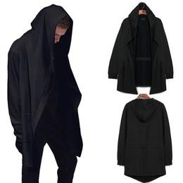 Черный трикотаж с капюшоном с капюшоном онлайн-Wholesale- 2016 Hip Hop Mens Black hooded mantle cardigan Sweatshirt spring and autumn long cloak coat manto long Sleeves hoodie