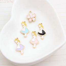 Wholesale Metal Alice - Wholesale Popular Cartoon Alice in Wonderland Princess 4 Colour DIY Metal pendants Charms Jewelry Making Gifts