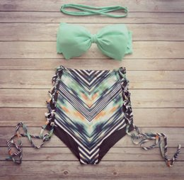 Wholesale Green Bandeau Bikini - Reversible bandeau bikini set biquini swimsuit bikinis women swimwear trajes de bano Print Bathing Suit maillot de bain femme