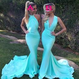 Wholesale Halter V Neck Wedding Dresses - Mint Green Mermaid Bridesmaid Dresses Long 2 style Plunging Halter Wedding Guest Dress Count Train Satin Pleats Cheap Bridesmaid Gown
