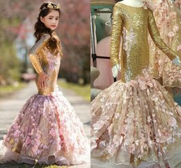 Wholesale T 13 - 2018 Gold Mermaid Girls Pageant Dresses Scoop Neck Long Sleeves Flowers Sequin Pageant Dresses For Girls Children Party Dresses